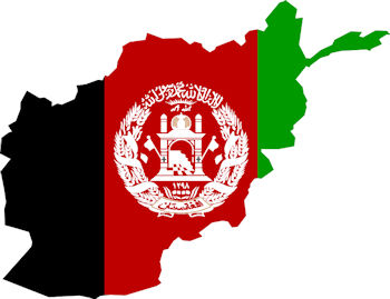 Flag map of Afghanistan - Pashto Translation