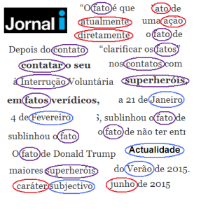 Newspaper after they adopted the new rules: red: new spelling, blue: old spelling, purple: neither: the writer created his own spelling...
